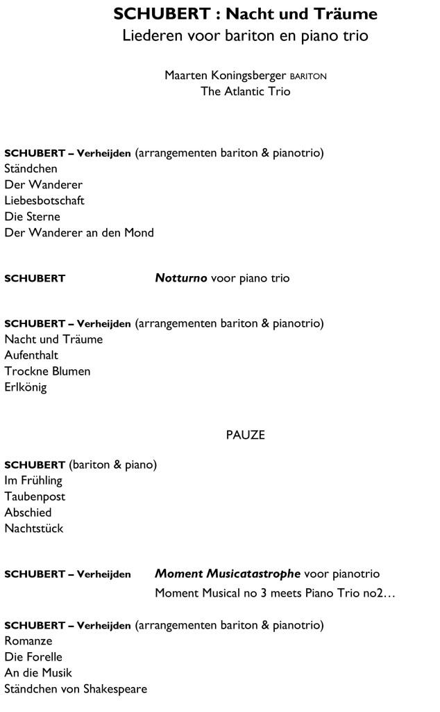 SCHUBERT - Nacht und Träume , programma oktober 2019 Koningsberger & Atlantic Trio